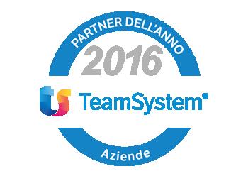 Top Service partner dell'anno 2016 TeamSystem per il settore Aziende